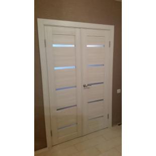 Фото, двойная дверь модели 7х эшвайт в интерьере