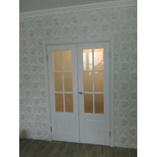 дверь 103Х пекан белый, двойная в интерьере