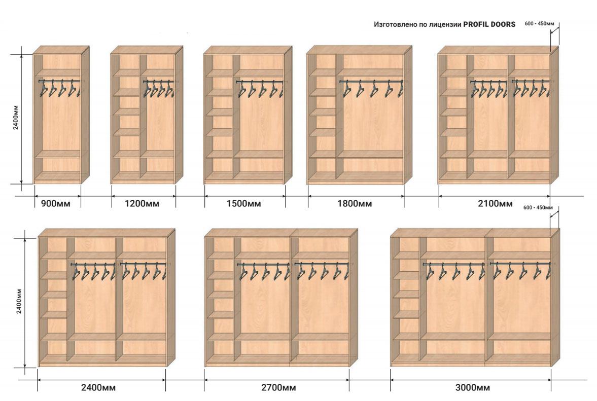 Размеры шкафов купе Профиль Дорс